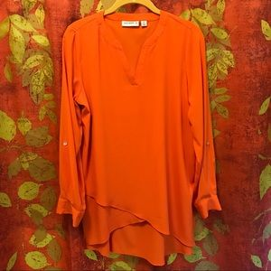 STRETCH WOVEN TUNIC-CROSSOVER HEM / SUSAN GRAVER
